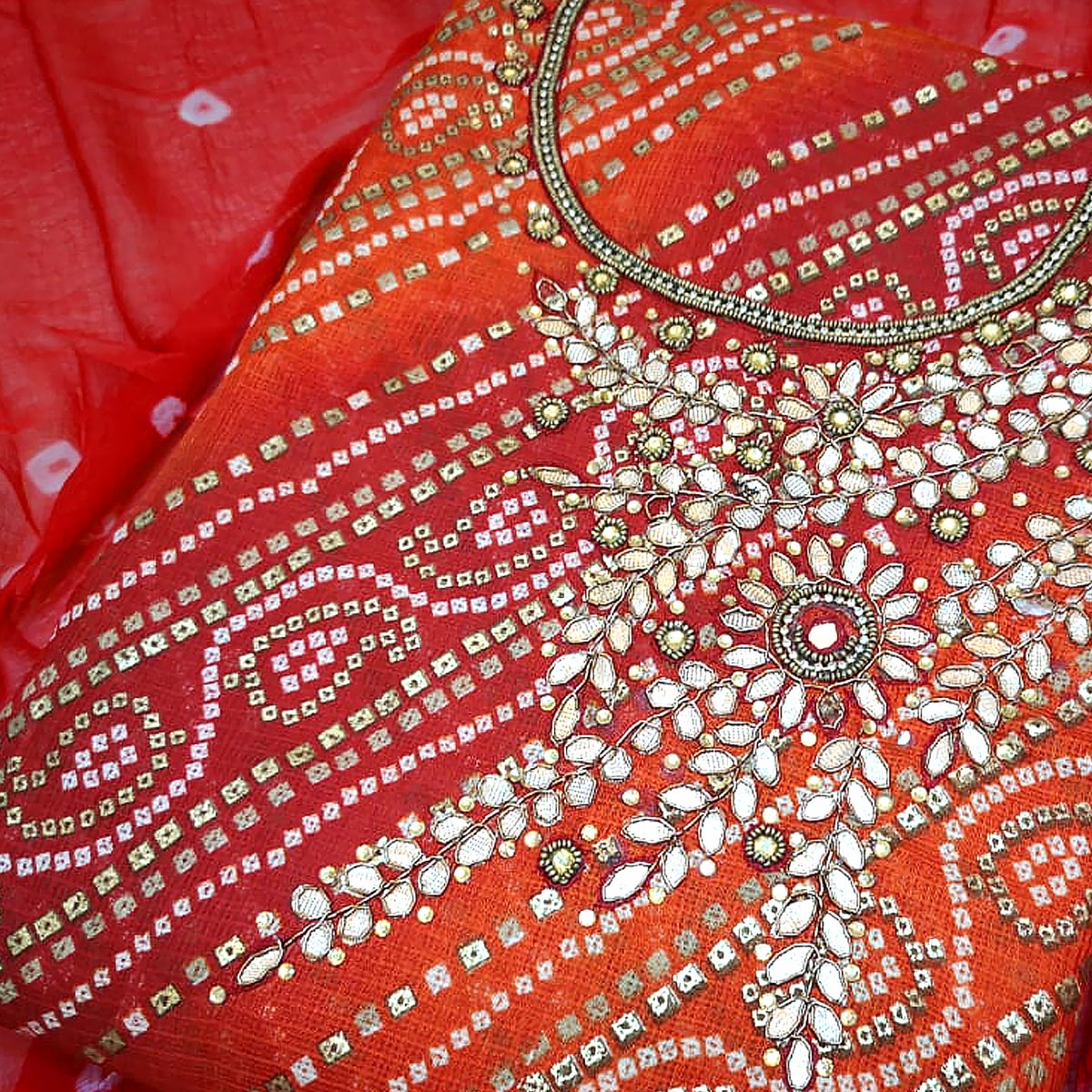 Gleaming Orange Colored Partywear Embroidered Cotton Silk Dress Material