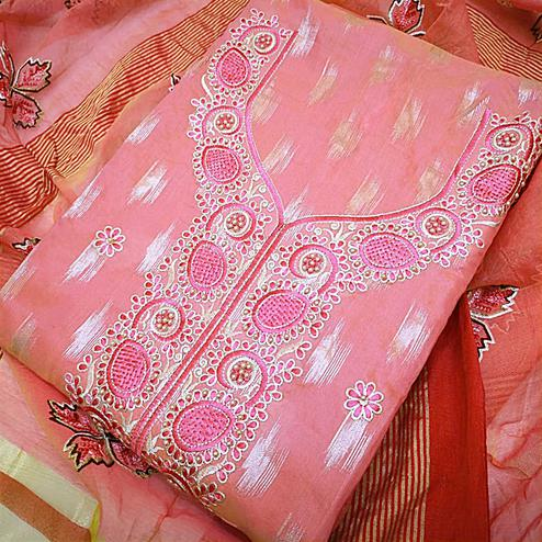 Charming Pink Colored Partywear Embroidered Modal Dress Material