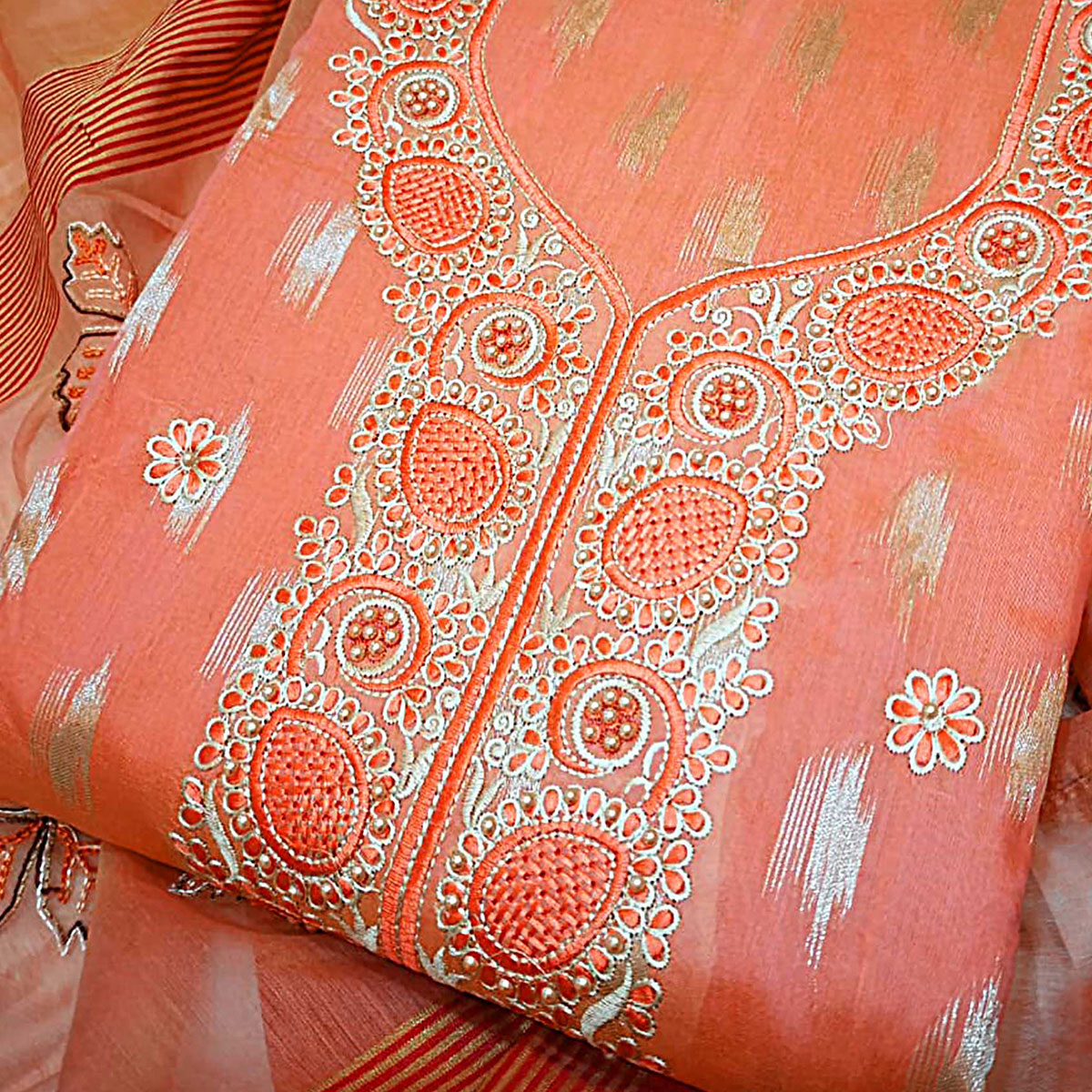 Impressive Orange Colored Partywear Embroidered Modal Dress Material
