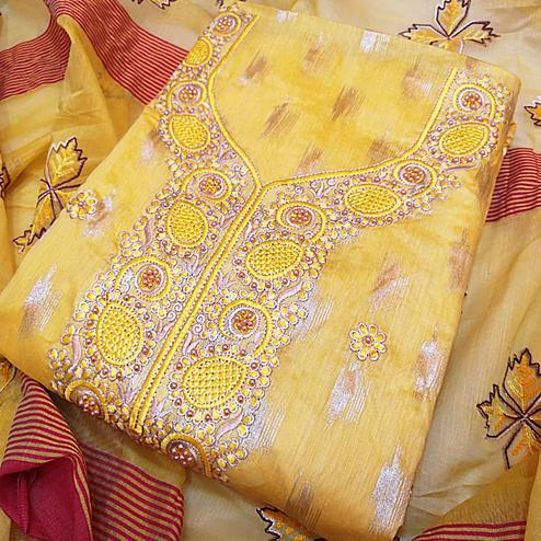 Blooming Yellow Colored Partywear Embroidered Modal Dress Material