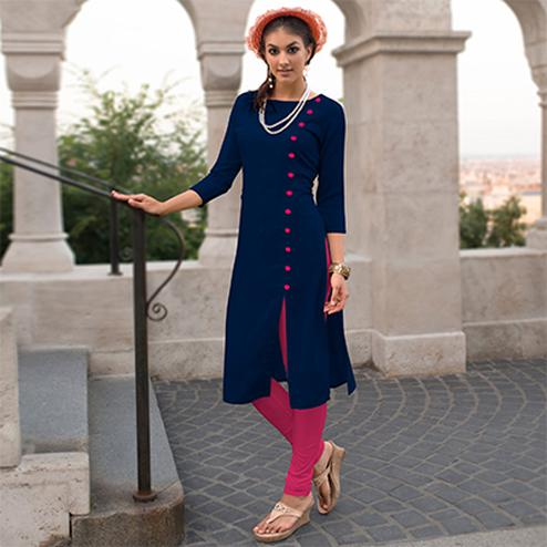 Blue Linen Cotton Designer Kurti