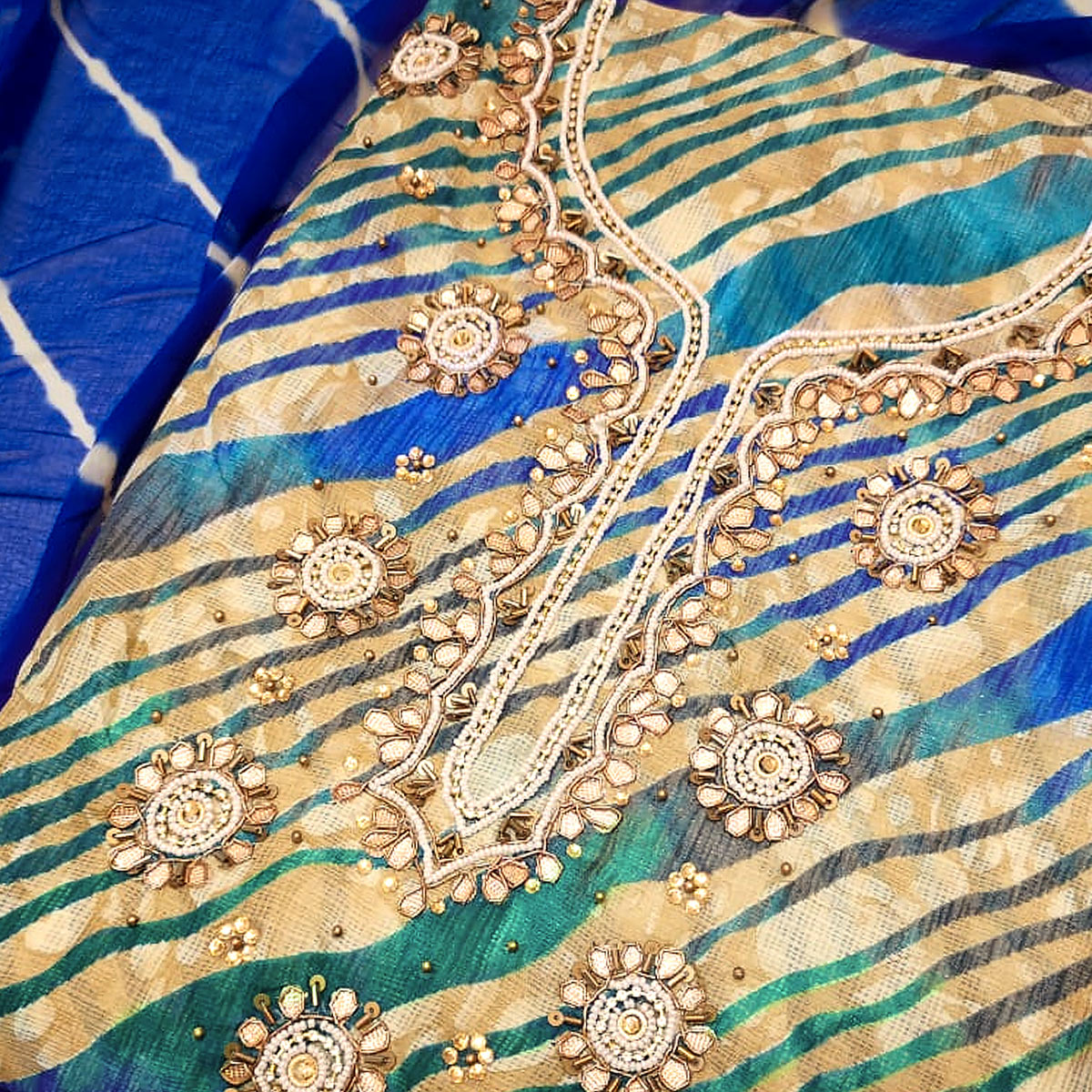 Mesmeric Blue Colored Partywear Embroidered Modal Silk Dress Material