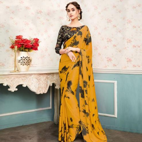 Impressive Yellow Colored Partywear Printed Silk Saree