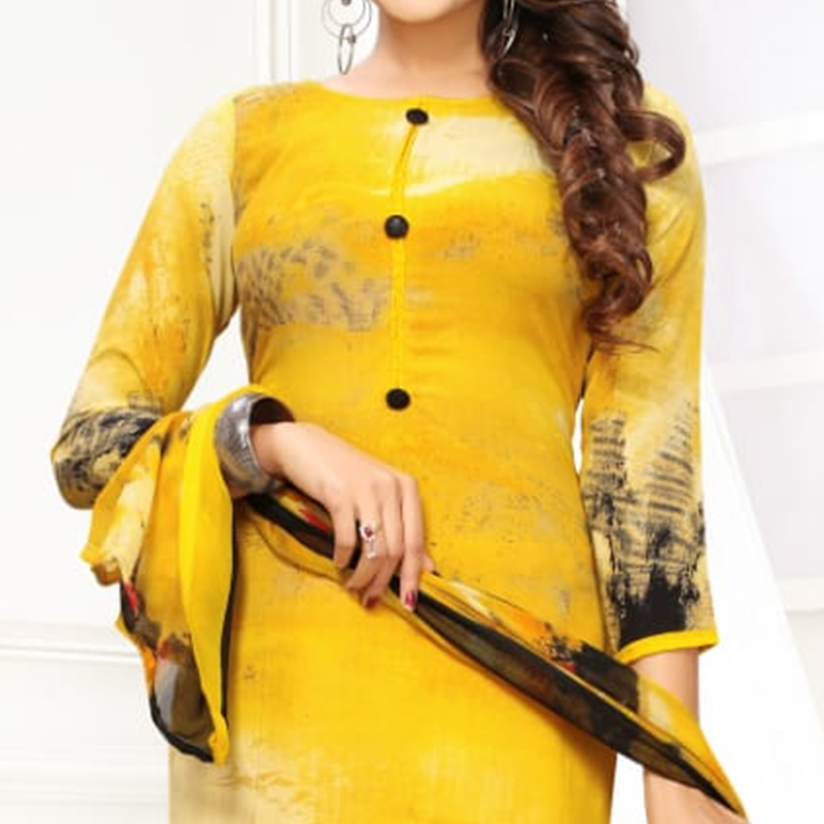 Radiant Yellow Colored Casual Printed Leon Dress Material