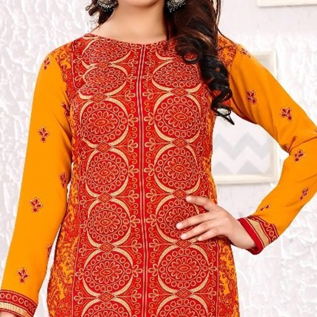 Sensational Red Colored Casual Printed Leon Dress Material