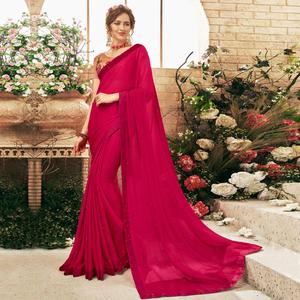 Jazzy Dark Pink Colored Party Wear Embroidered Georgette Saree