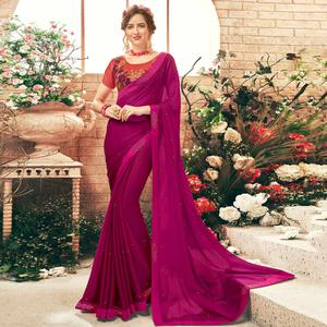 Groovy Magenta Pink Colored Party Wear Embroidered Georgette Saree