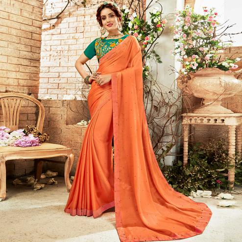 Prominent Orange Colored Party Wear Embroidered Georgette Saree