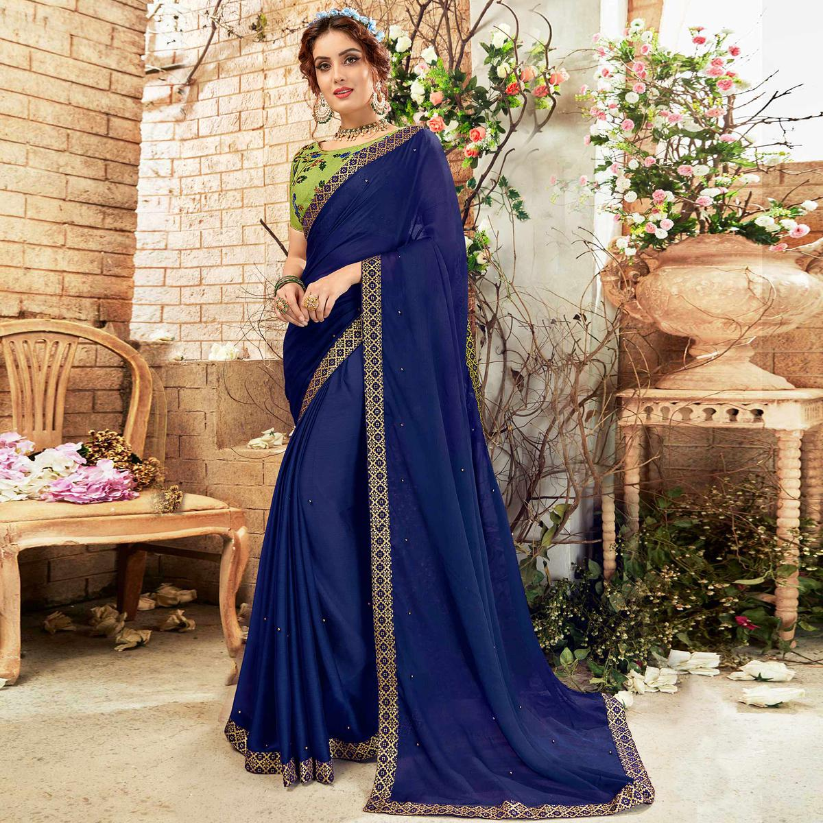 Capricious Navy Blue Colored Party Wear Embroidered Georgette Saree