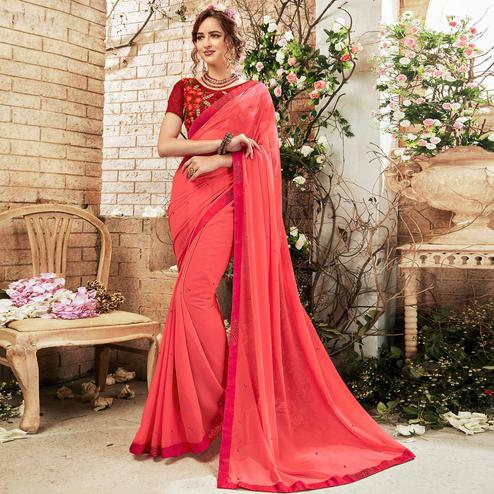 Adorning Pink Colored Party Wear Embroidered Georgette Saree