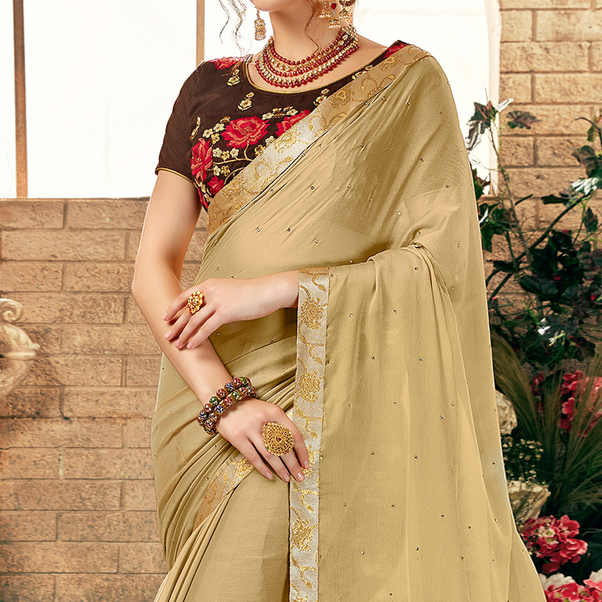 Captivating Chiku Colored Party Wear Embroidered Georgette Saree