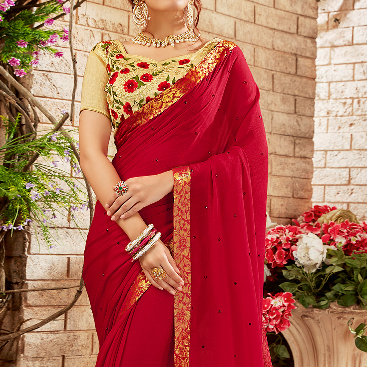 Flaunt Red Colored Party Wear Embroidered Georgette Saree