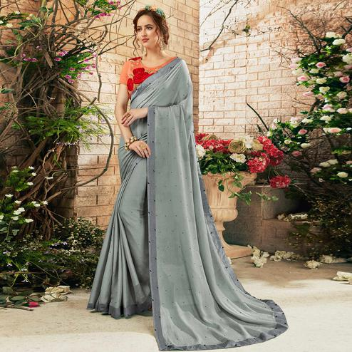 Flamboyant Grey Colored Party Wear Embroidered Georgette Saree