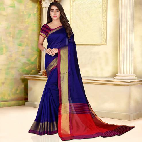 Adorable Navy Blue Colored Festive Wear Woven Bhagalpuri Silk Saree