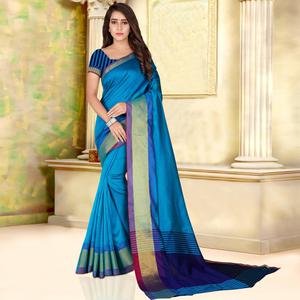 Attractive Sky Blue Colored Festive Wear Woven Bhagalpuri Silk Saree