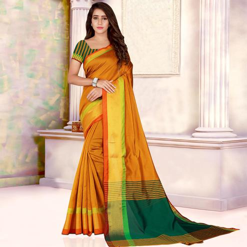 Beautiful Mustard Yellow Colored Festive Wear Woven Bhagalpuri Silk Saree