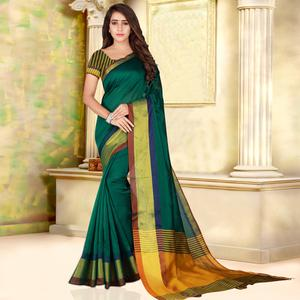 Gorgeous Green Colored Festive Wear Woven Bhagalpuri Silk Saree
