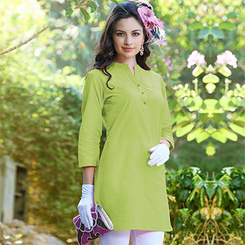 Green Cotton Designer Kurti