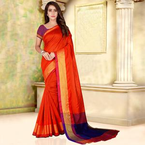 Classy Orange Colored Festive Wear Woven Bhagalpuri Silk Saree