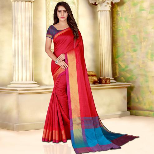 Graceful Red Colored Festive Wear Woven Bhagalpuri Silk Saree