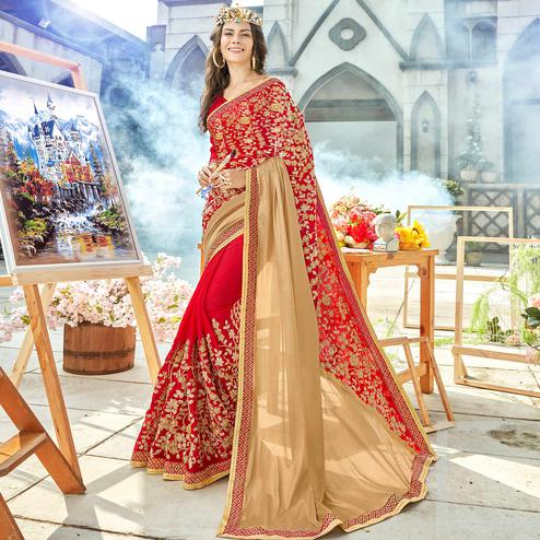 Charming Red Colored Party Wear Embroidered Georgette Saree