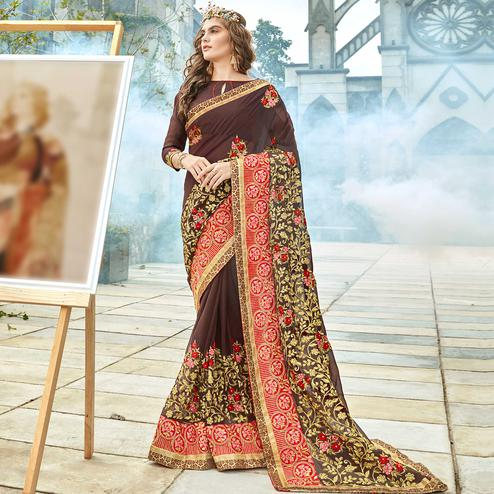 Ravishing Brown Colored Party Wear Embroidered Georgette Saree