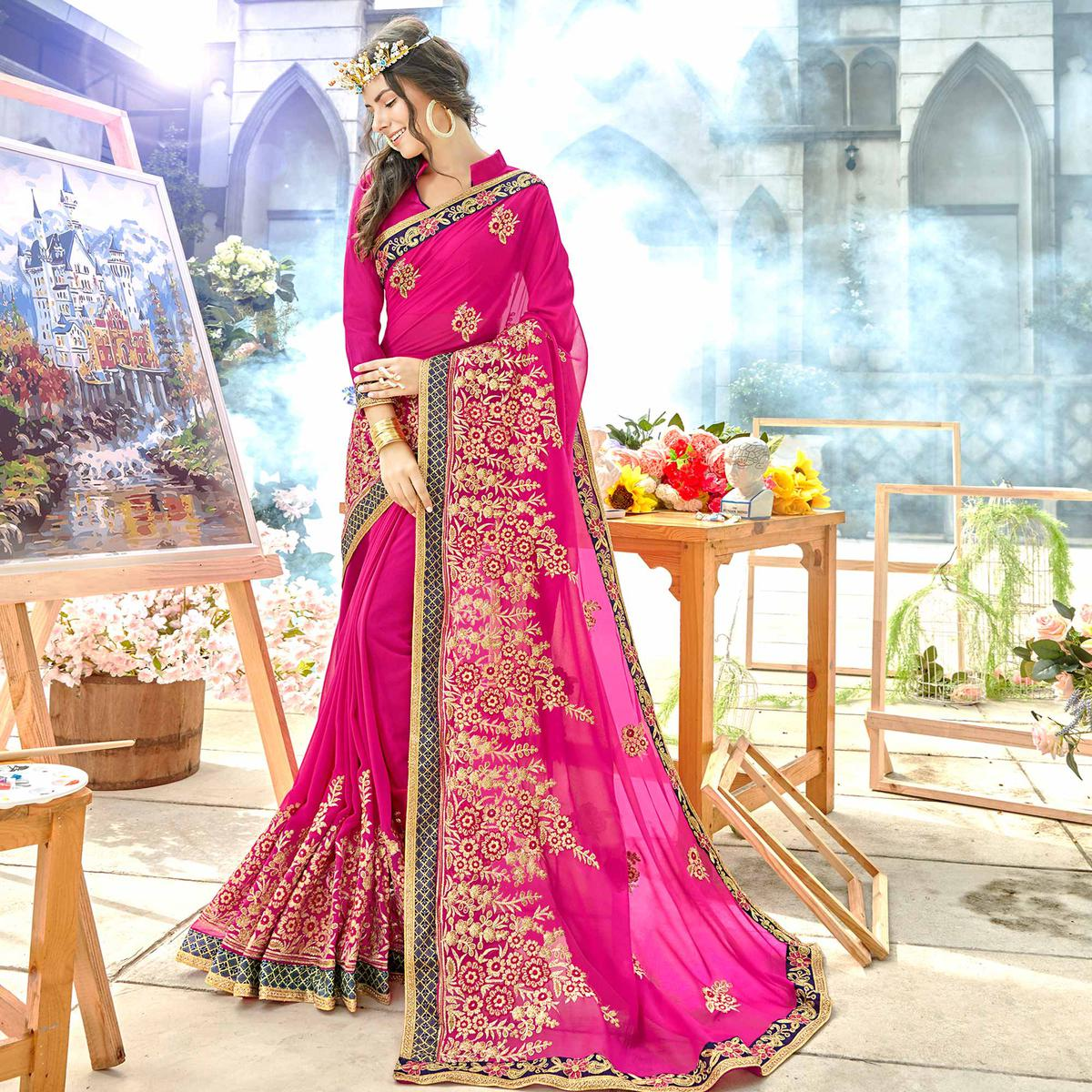 Delightful Rani Pink Colored Party Wear Embroidered Georgette Saree