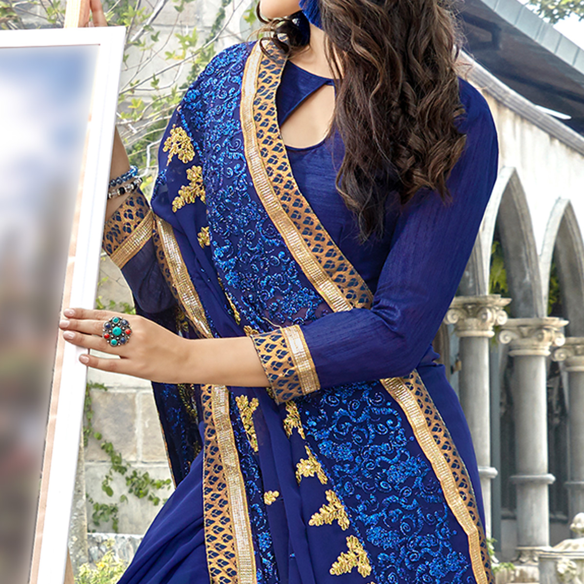 Blooming Navy Blue Colored Party Wear Embroidered Georgette Saree