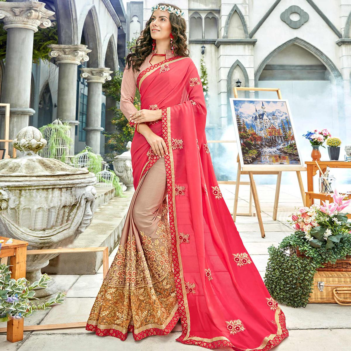 Marvellous Pink - Beige Colored Party Wear Embroidered Georgette Saree