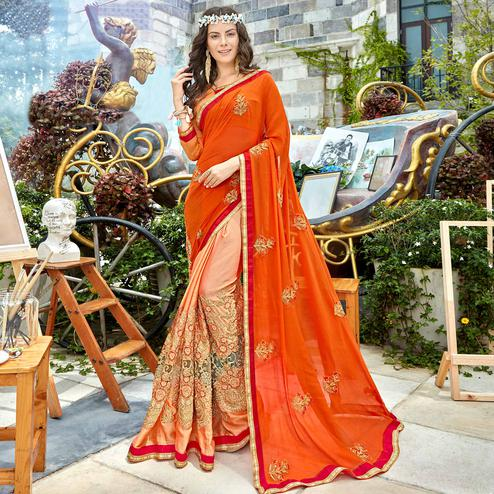 Ravishing Orange - Peach Colored Party Wear Embroidered Georgette Saree