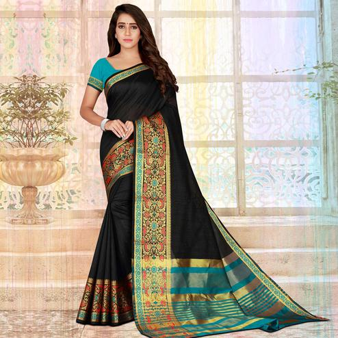 Beautiful Black Colored Festive Wear Woven Saree