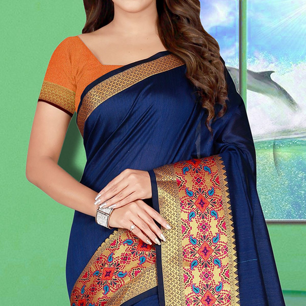 Gorgeous Blue Colored Festive Wear Woven Saree