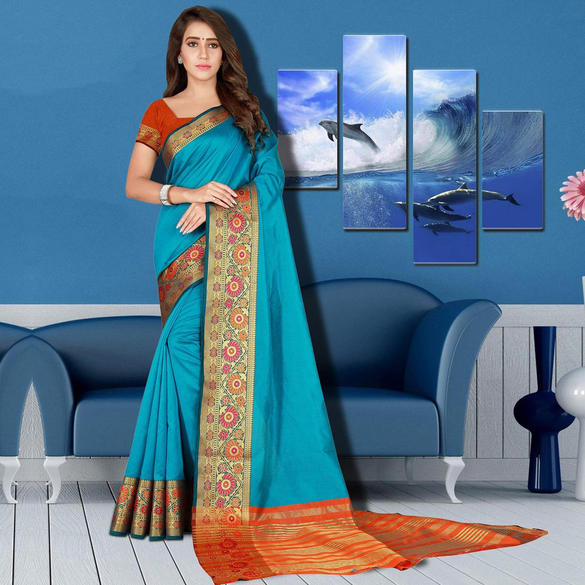 Classy Sky Blue Colored Festive Wear Woven Saree