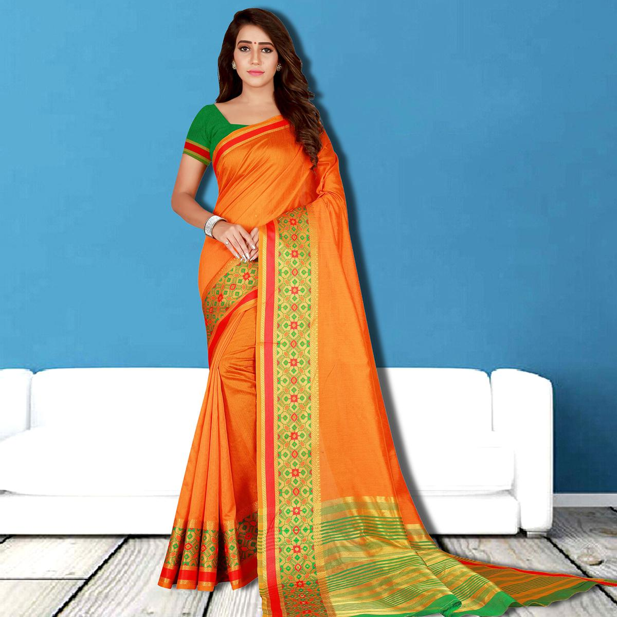 Glorious Orange Colored Festive Wear Woven Saree