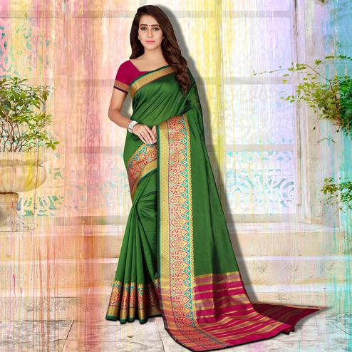 Graceful Green Colored Festive Wear Woven Saree