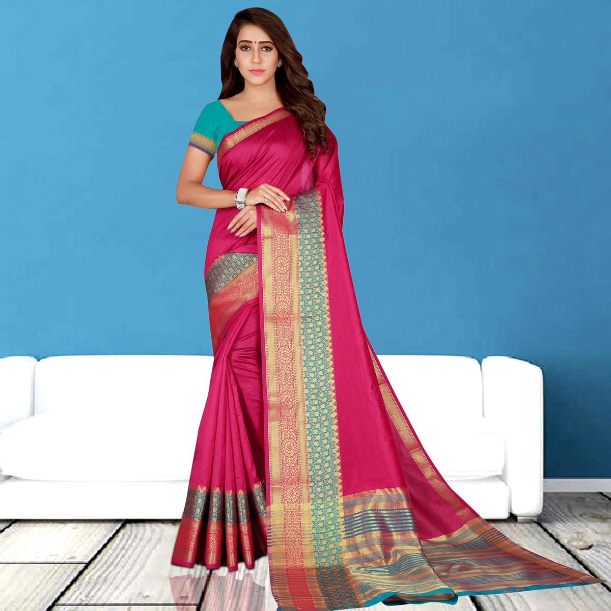 Lovely Deep Pink Colored Festive Wear Woven Saree