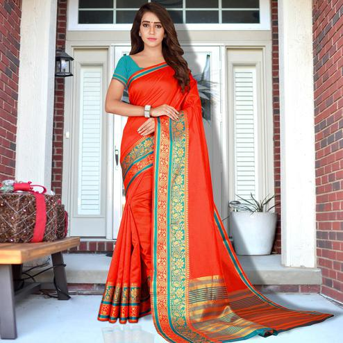 Pretty Tomato Red Colored Festive Wear Woven Saree