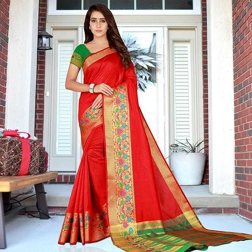 Charming Red Colored Festive Wear Woven Saree