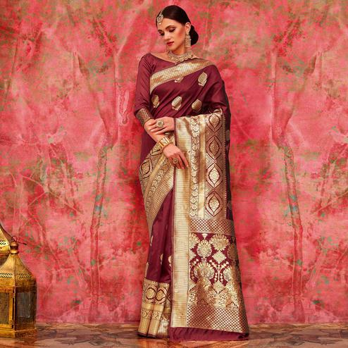 Alluring Maroon Colored Festive Wear Woven Silk Saree