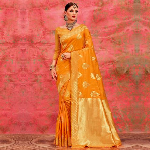 Radiant Yellow Colored Festive Wear Woven Silk Saree