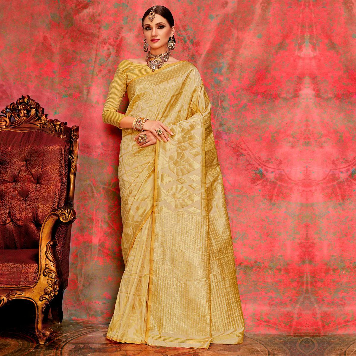 Amazing Beige Colored Festive Wear Woven Silk Saree