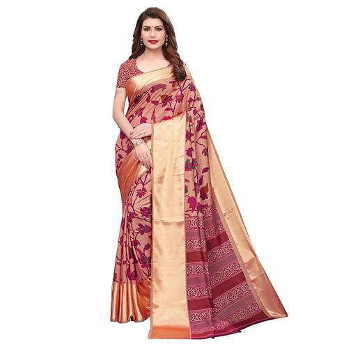 Intricate Light Peach Colored Casual Wear Printed Silk Saree