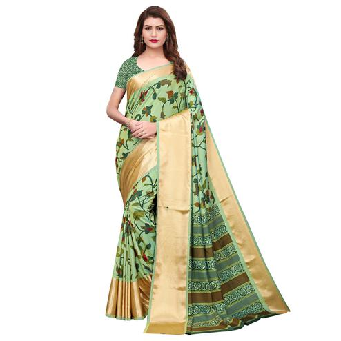 Desirable Light Green Colored Casual Wear Printed Silk Saree