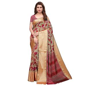 Sophisticated Light Brown Colored Casual Wear Printed Silk Saree