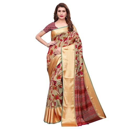 Demanding Chiku Colored Casual Wear Printed Silk Saree