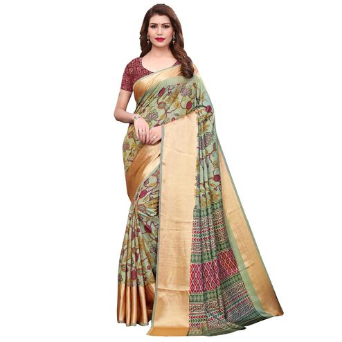 Pleasant Pastel Green Colored Casual Wear Printed Silk Saree