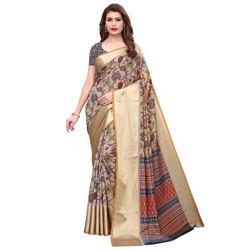 Unique Light Brown Colored Casual Wear Printed Silk Saree