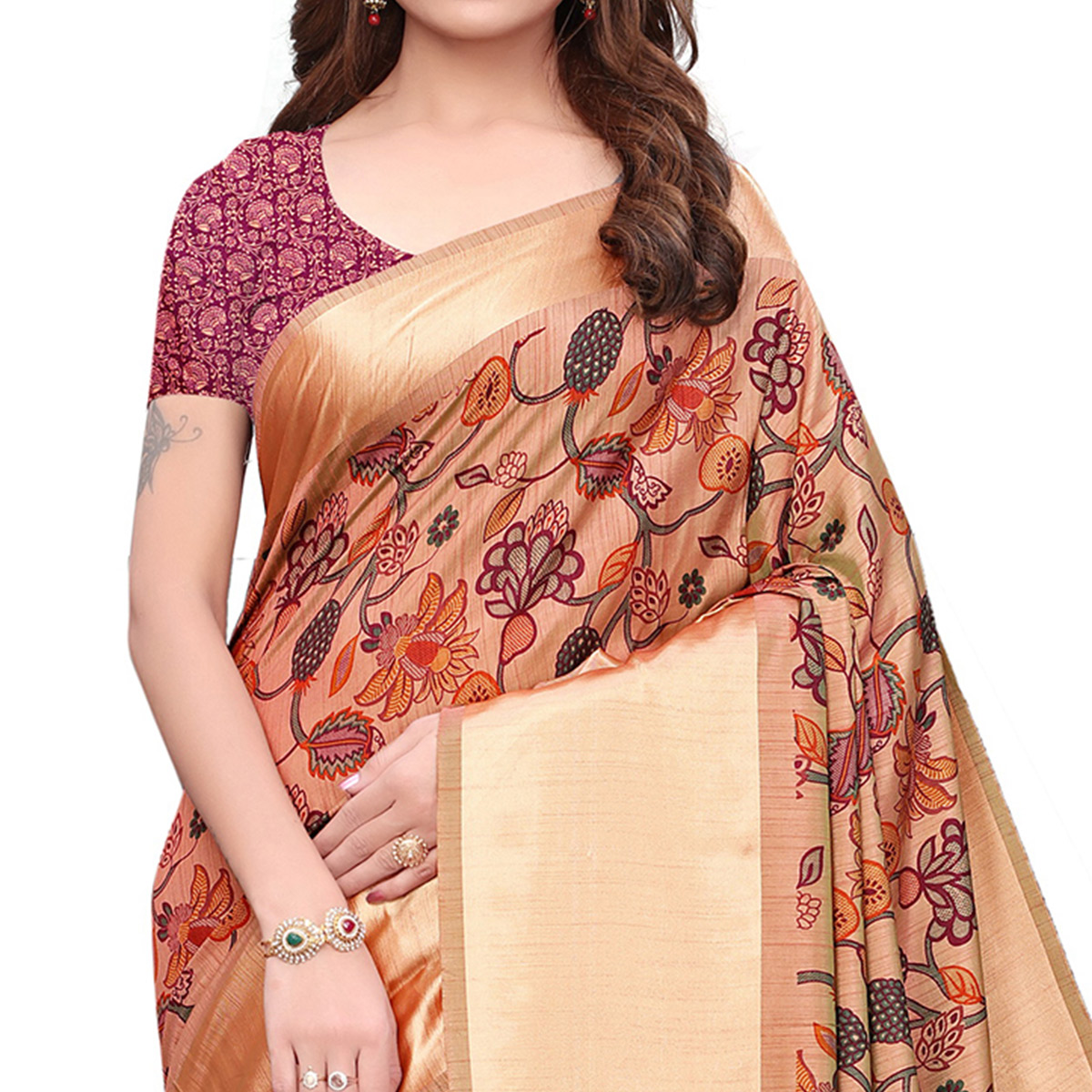 Refreshing Peach Colored Casual Wear Printed Silk Saree
