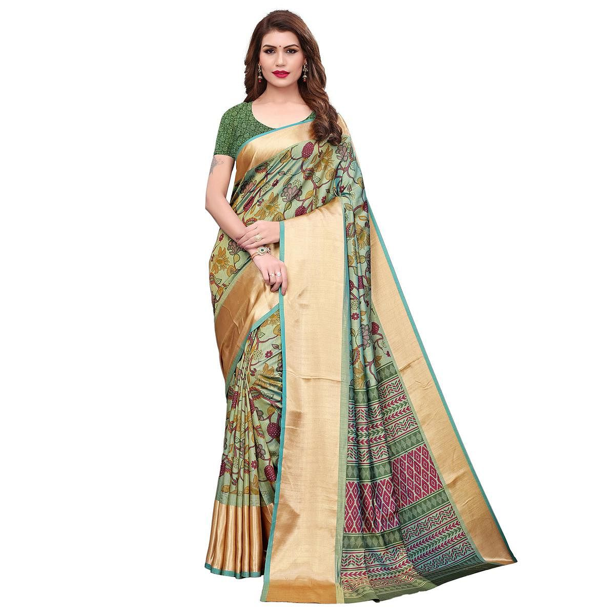 Elegant Pastel Green Colored Casual Wear Printed Silk Saree