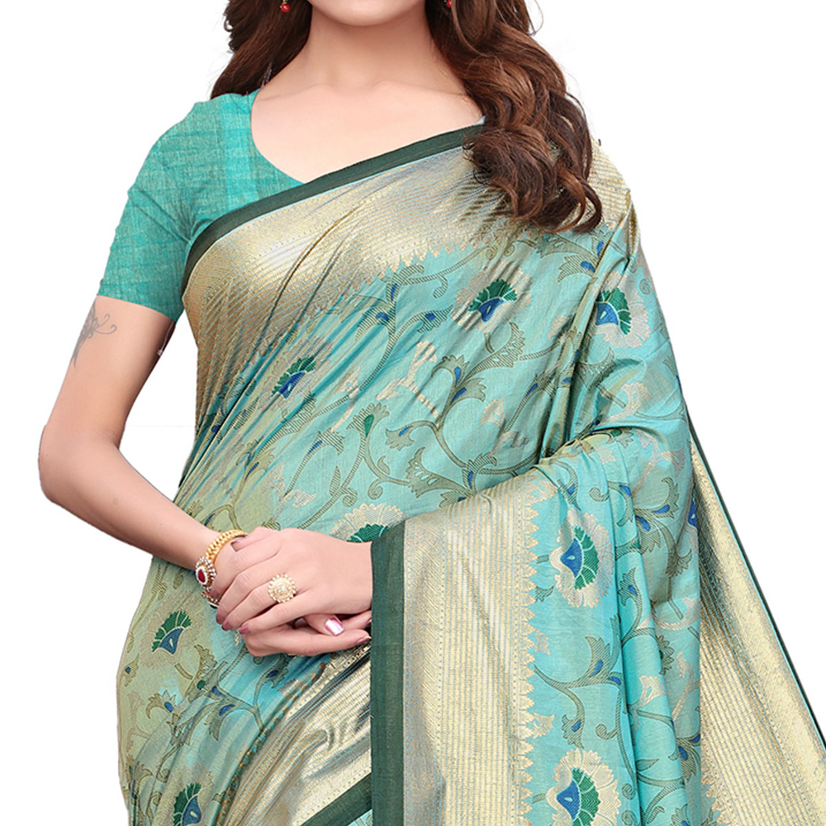 Alluring Aqua Blue Colored Casual Wear Printed Silk Saree